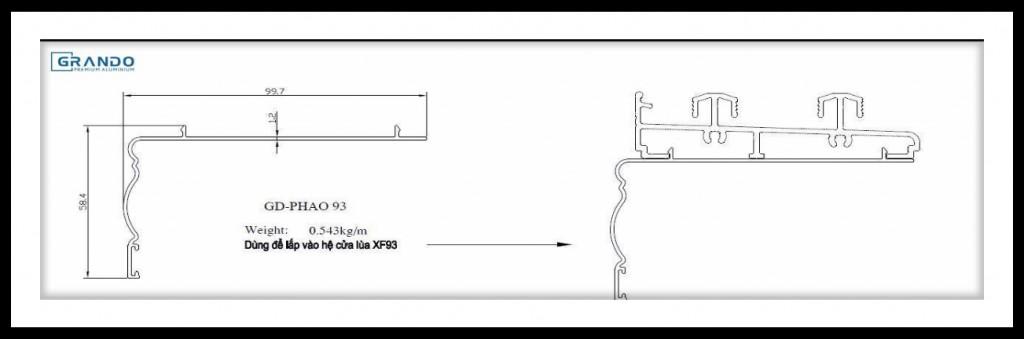 GD-PHAO 93 dùng cho hệ cửa lùa XF93