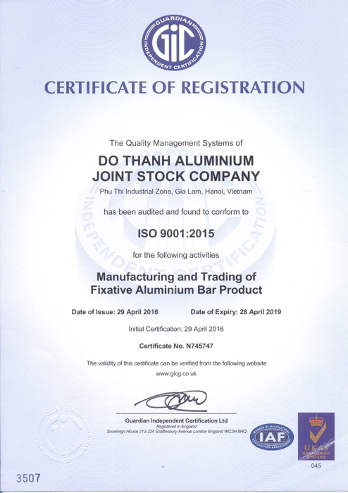 Chứng nhận phù hợp tiêu chuẩn ISO 9001:2015