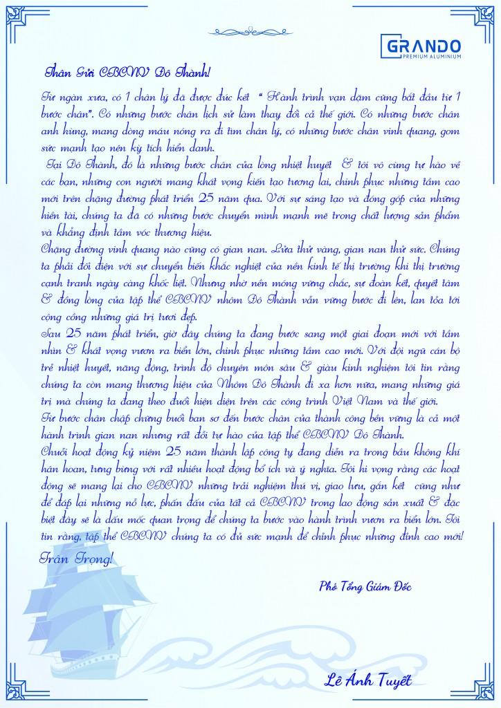 Tâm thư Phó Chủ Tịch HĐQT Lê Ánh Tuyết gửi CBCNV nhà máy