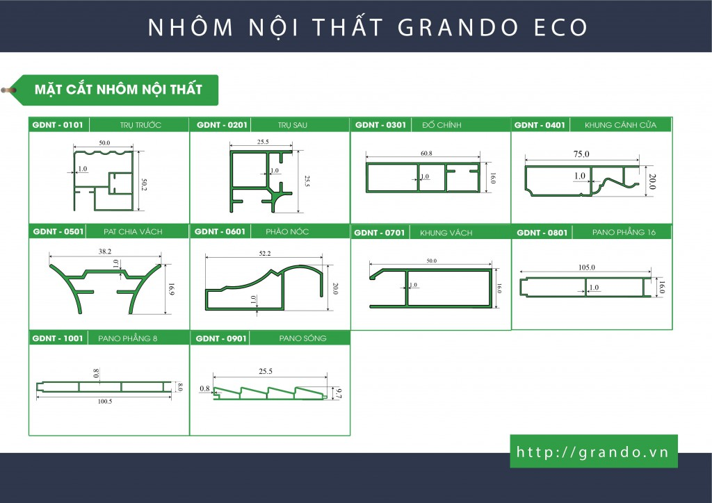 Mặt cắt nhôm nội thất Grando Eco
